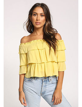 Yellow Tiered Off Shoulder Crop Top by Love Culture