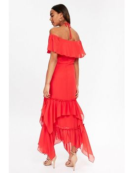 Red Ruffle Tiered Maxi Dress by Wallis