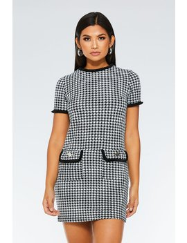 Black And White Short Sleeve Check Tunic Dress by Quiz