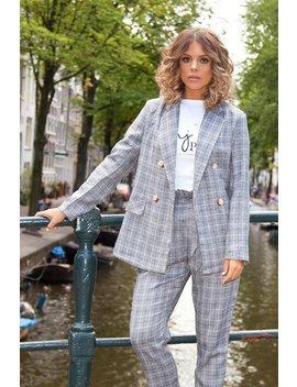 Towie Grey Check Button Blazer by Quiz