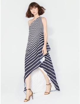 One Shoulder Stripe Wrap Gown by Halston