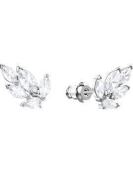 Louison Stud Pierced Earrings, White, Rhodium Plating by Swarovski