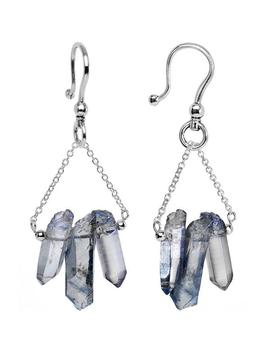 6 Gauge Handcrafted Electroplated Natural Quartz Crystal Ear Weights by Body Candy