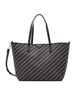 K/Stripe Logo Shopper With Leather by Karl Lagerfeld