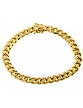 Yellow Gold 925 Silver Miami Cuban Link Bracelet 8 Mm 9 Inches by 24diamonds