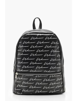 All Over Woman Script Print Rucksack by Boohoo
