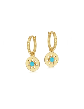Turquoise Mini Charm Pyramid Hoops by Missoma