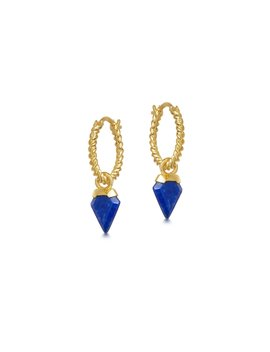 Lapis Mini Charm Helical Hoops by Missoma