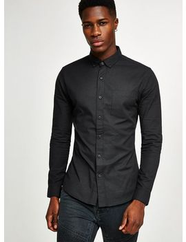 Black Muscle Fit Oxford Long Sleeve Shirt by Topman