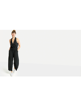 Black Revere Collar Wide Leg Jumpsuit by Nobody's Child