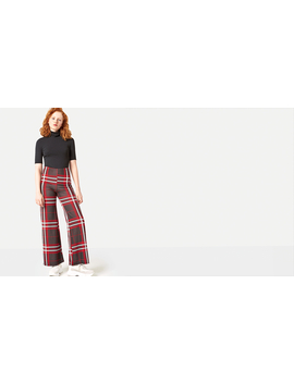 Red Oversized Check Wide Leg Trouser by Nobody's Child