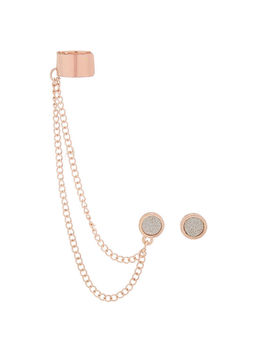 Rose Gold Glitter Connector Earrings by Claire's