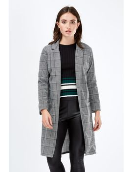 Grey Check Smart Duster Jacket by Select