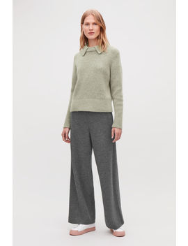 Flecked Wool Wide Leg Trousers by Cos