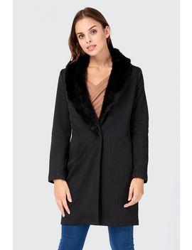 Faux Fur Trim Collar Jacket by Select