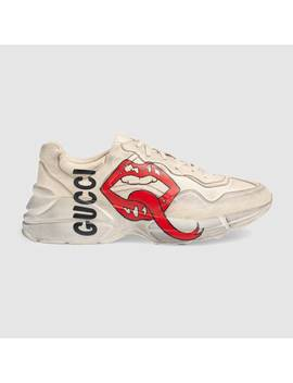 Rhyton Sneaker With Mouth Print by Gucci