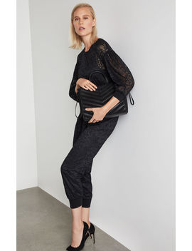 Pleated Sleeve Lace Jumpsuit by Bcbgmaxazria