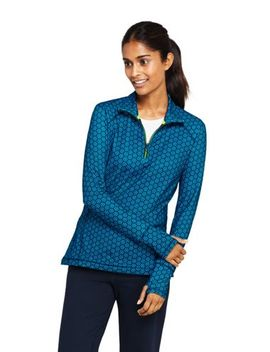 Women's Active Tech Print Quarter Zip Fleece Pullover by Lands' End