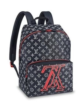 Apollo Upside Down Reverse Lv Ink Logo Shoulder Back Blue Canvas Backpack by Louis Vuitton