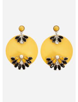 Flower Detail Disc Earrings by Ashley Stewart