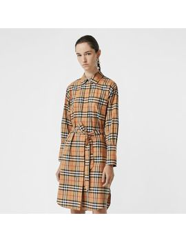 Vintage Check Cotton Tie Waist Shirt Dress by Burberry