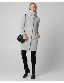 Wool Blend Funnel Neck Coat by Le Chateau