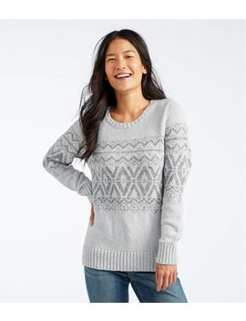 Cotton Ragg Sweater, Crewneck Pullover Fair Isle by L.L.Bean