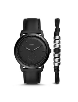 The Minimalist Two Hand Sub Second Black Leather Watch And Bracelet Box Set by Fossil