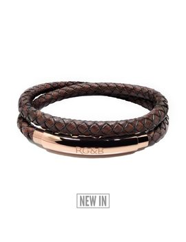 Woven Adjustable Double   Rose Gold & Tan by Rose Gold & Black