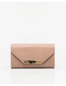 Leather Like Flapover Clutch by Le Chateau
