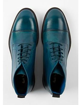 Men's Dip Dyed Teal Calf Leather 'jarman' Boots by Paul Smith