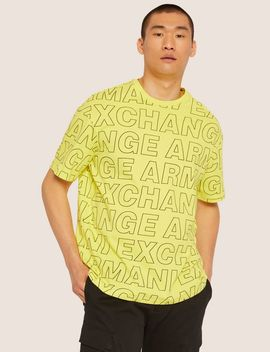 Loose Fit Allover Logo Print Crew by Armani Exchange