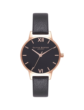 White Dial Bracelet Rose Gold & Black Watch by Olivia Burton