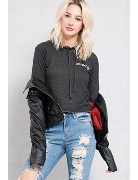 Have A Good Day Embroidered Cropped Hoodie by Papaya
