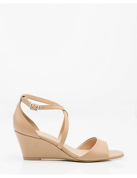 Leather Criss Cross Wedge Sandal by Le Chateau