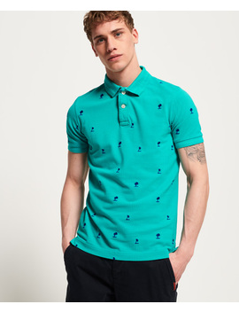 Classic Bermuda All Over Print Pique Polo Shirt by Superdry