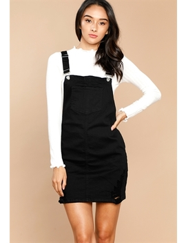 Raw Hem Denim Overall Skirt by Papaya