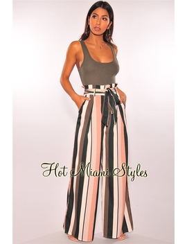Olive Cream Peach Striped Paperbag Belted Palazzo Pants by Hot Miami Style
