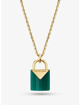 14 K Gold Plated Sterling Silver Lock Necklace by Michael Kors