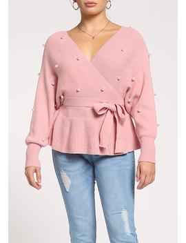 Dusty Pink Pearl Waist Tie Flared Sweater Top by Love Culture