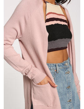 Dusty Pink Side Slit Pocket Cardigan by Love Culture