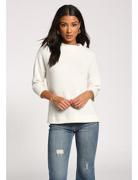 Ivory Mock Neck Sweater Top by Love Culture