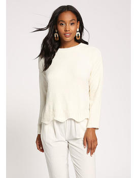 Ivory Scallop Soft Sweater Top by Love Culture