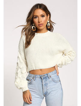 Cream Polka Dot Sleeve Cropped Sweater Top by Love Culture