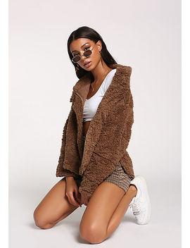 Mocha Shaggy Faux Fur Jacket by Love Culture