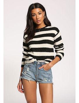 Black Stripe Pullover Sweater Top by Love Culture