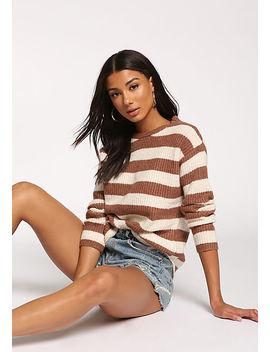 Mauve Stripe Pullover Sweater Top by Love Culture