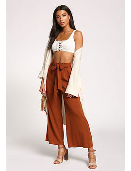 Rust Pocket Waist Tie Palazzo Pants by Love Culture