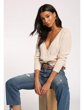 Cream Wide V Surplice Sweater Top by Love Culture