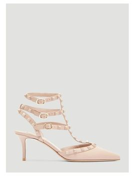 Women's Rockstud Court Heels In Neutrals by Valentino